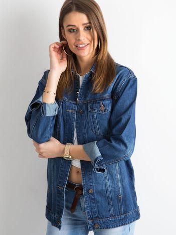 Damska jeansowa kurtka niebieska