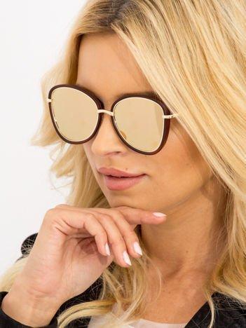 Damskie Okulary Słoneczne Brązowe Lustrzanki