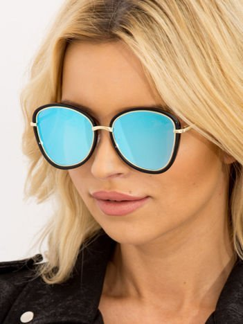 Damskie Okulary przeciwsłoneczne Niebieskie Lustrzanki