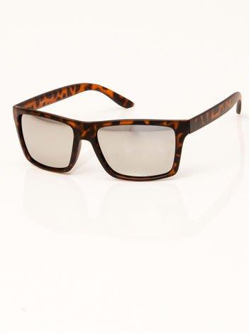 Damskie okulary przeciwsłoneczne panterka srebrna lustrzanka
