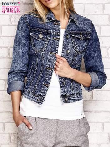 Dekatyzowana kurtka jeansowa niebieska