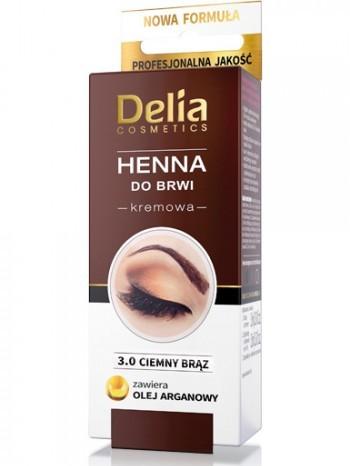 Delia Cosmetics Henna do brwi kremowa nr 3.0 ciemny brąz