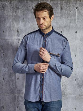 Denimowa bawełniana koszula męska ze wstawkami niebieska PLUS SIZE
