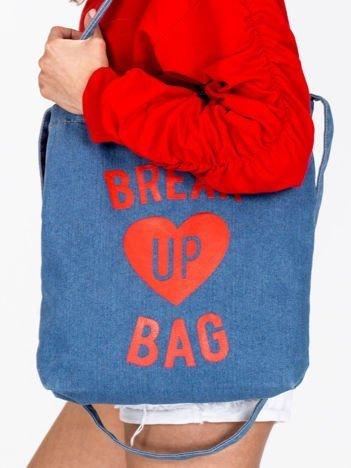 Denimowa niebieska torba BREAK UP BAG z sercem