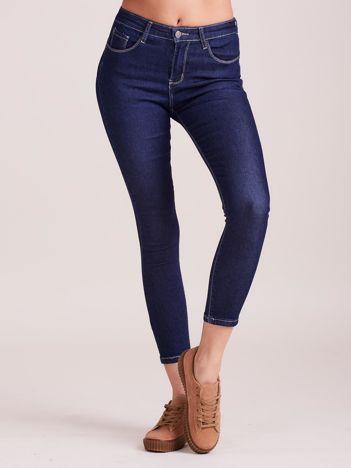 Denimowe spodnie high waist ciemnoniebieskie