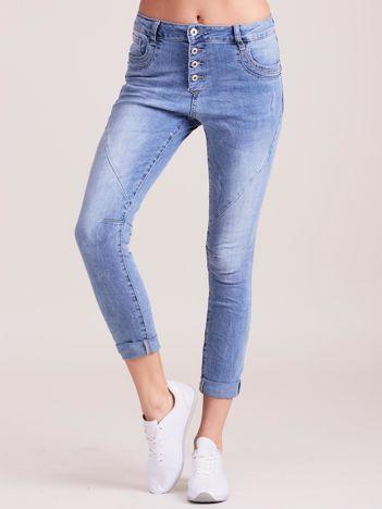 Denimowe spodnie z przeszyciami niebieskie