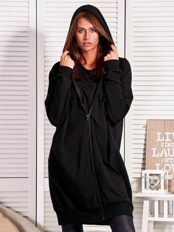 Długa bluza damska na suwak czarna