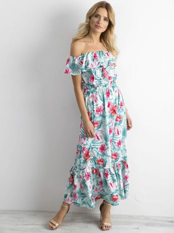 Długa sukienka w kwiaty miętowo-różowa