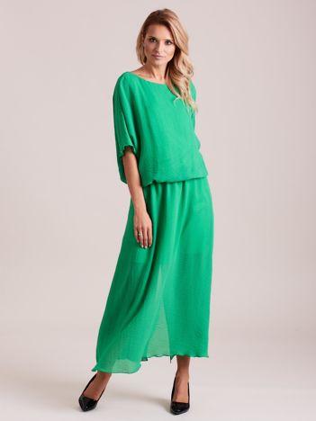 Długa zwiewna sukienka zielona