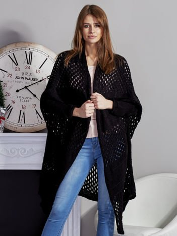 Długi ażurowany sweter czarny