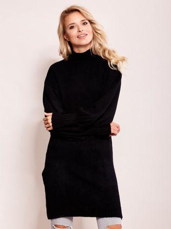 Długi sweter damski z szerokimi ściągaczami czarny
