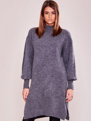 Długi sweter damski z szerokimi ściągaczami szary