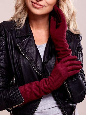 Długie bordowe rękawiczki