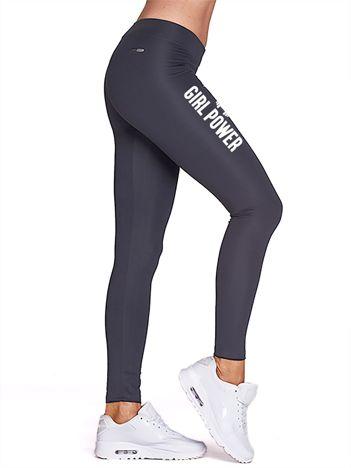 Długie grafitowe legginsy do fitnessu GIRL POWER z nadrukiem