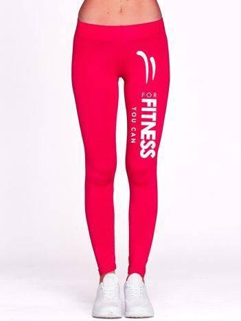 Długie legginsy do biegania z napisem FOR FITNESS fuksjowe