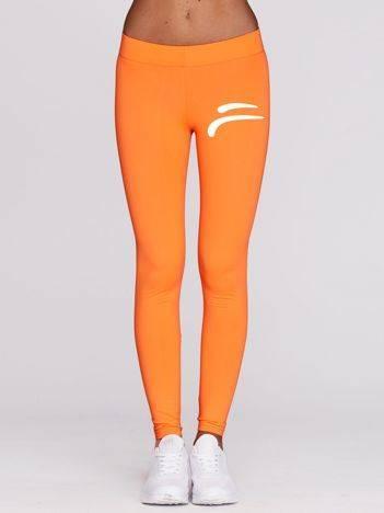 Długie legginsy fitness z logo z przodu fluo pomarańczowe