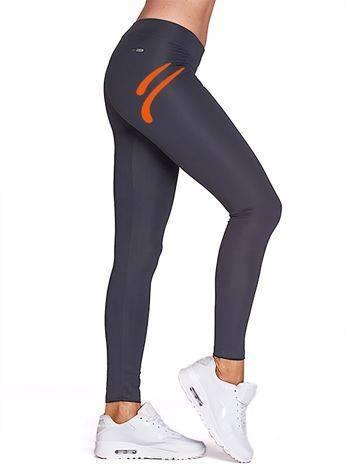 Długie legginsy sportowe z kolorowym znakiem grafitowe