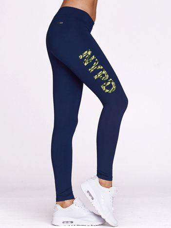 Długie legginsy sportowe z moro napisem NYPD granatowe