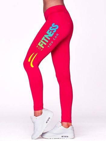 Długie legginsy sportowe z motywem FITNESS fuksjowe
