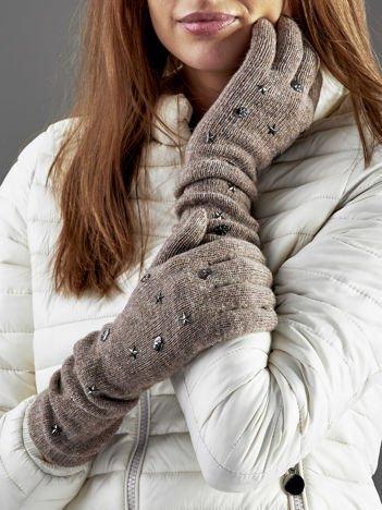 Długie rękawiczki z ćwiekami z domieszką wełny ciemnobeżowe