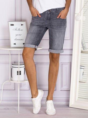 Dłuższe proste jeansowe szorty szare