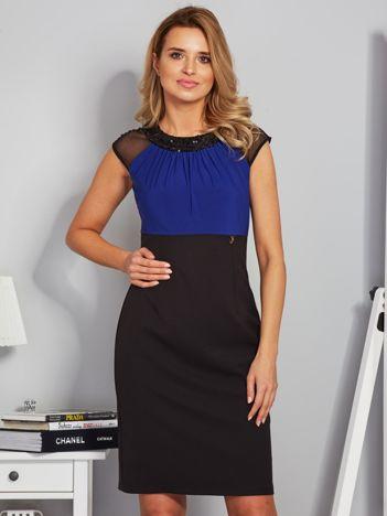 Dopasowana sukienka koktajlowa z szarfą czarno-kobaltowa