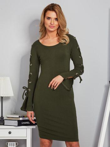 Dopasowana sukienka z rękawami lace up khaki