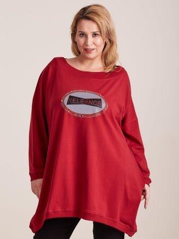 Dresowa bordowa tunika z aplikacją PLUS SIZE