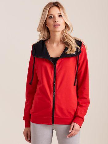 Dresowa damska bluza z kapturem czerwona
