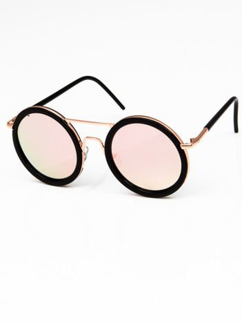 Duże okrągłe okulary RÓŻOWE LUSTRZANKI z czarnymi oprawkami
