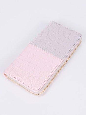 Duży portfel portmonetka KOPERTÓWKA liliowo-różowy, wiele przegródek, pojemny