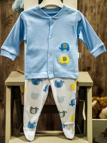 Dwuczęściowy komplet niemowlęcy w słoniki błękitno-biały