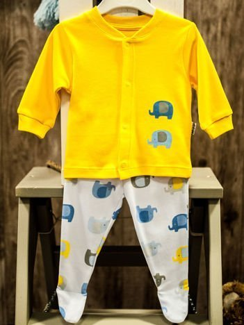 Dwuczęściowy komplet niemowlęcy w słoniki żółto-biały