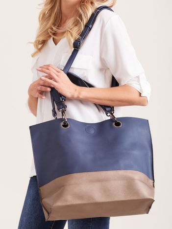 Dwukolorowa torba z odpinanym paskiem