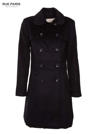 Dwurzędowy czarny płaszcz typu trencz z wełny