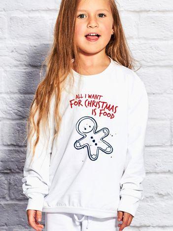 Dziecięca świąteczna bluza z zabawnym napisem biała