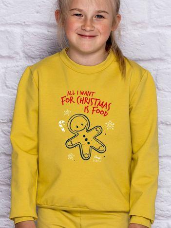 Dziecięca świąteczna bluza z zabawnym napisem miodowa