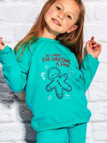 Dziecięca świąteczna bluza z zabawnym napisem zielona