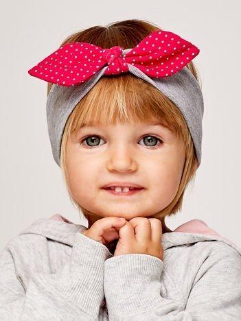 Dziewczęca opaska do włosów z kokardą w kropki jasnoszara