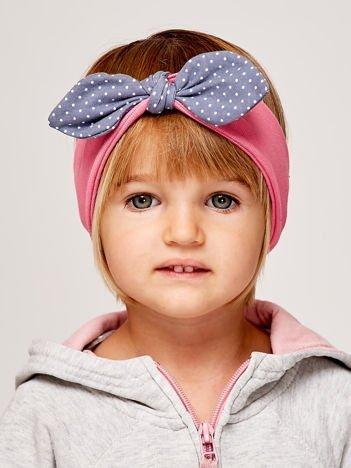 Dziewczęca opaska do włosów z kokardą w kropki różowa