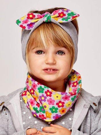Dziewczęca opaska do włosów z kokardą w kwiatki szara