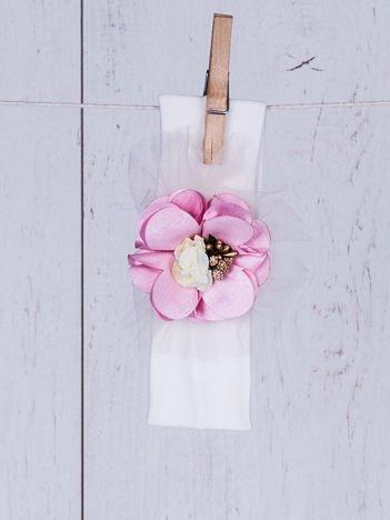 Dziewczęca wizytowa opaska z ozdobnym różowym kwiatkiem ecru