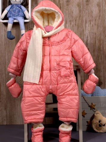 Dziewczęcy kombinezon zimowy ocieplany futerkiem różowy