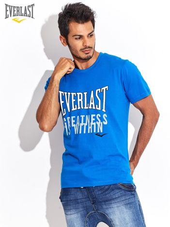EVERLAST Niebieski t-shirt męski z nadrukiem logo marki