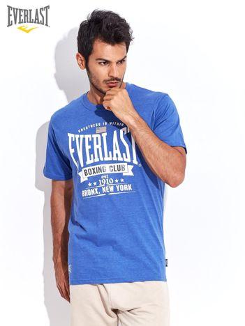 EVERLAST Niebieski t-shirt męski z nadrukiem tekstowym