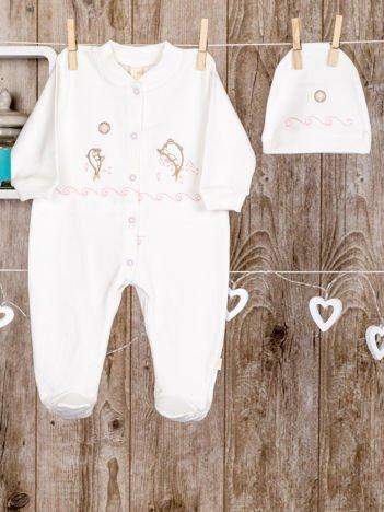 Ecru 2-częściowy bawełniany  komplet wyprawka niemowlęca dla dziewczynki do szpitala