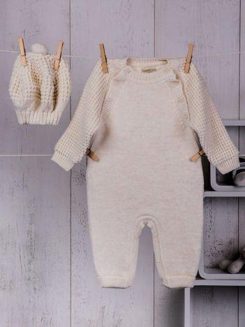 Ecru 2-częściowy komplet niemowlęcy z dzianiny pajacyk i ciepła czapeczka berecik dla dziewczynki