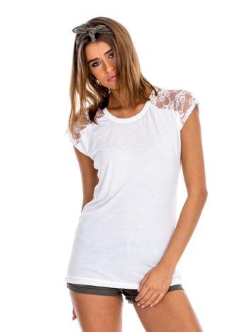 Ecru bluzka damska z ażurowaniem na rękawach