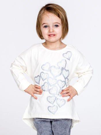 Ecru bluzka dla dziewczynki w serduszka