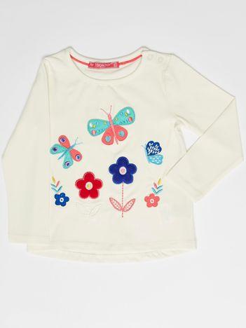 Ecru bluzka dla dziewczynki z kolorowymi naszywkami